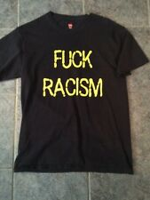 Custom Made Tshirt F@ck Racism Size Medium Black Yellow Letters Hanes Tagless