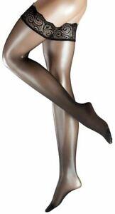 Falke Womens Deluxe Matte 20 Denier Transparent Stay Up Stockings - Black