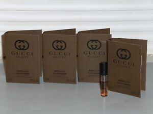 GUCCI GUILTY ABSOLUTE Men's eau de Parfum Spray Samples (4) x .05 oz, 1.5 ml NEW