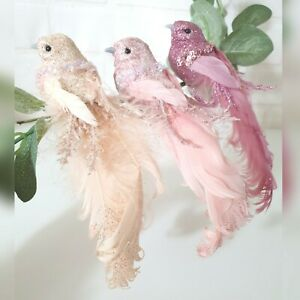 Blush Pink, Nude, Dusky Pink Bird Christmas Tree Decoration On Clip Feather