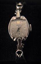 Vintage Ladies Elgin 19 Jewels 10k White Gold RGP Wrist Watch - Needs Cleaning
