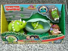 Fisher Price Little People Lil' Dino Triceratops Dino Egg & Baby Caveman NEW