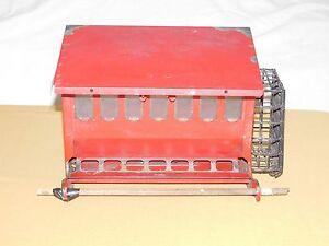 "15"" X 11"" X 9 1/2"" RED METAL BIRD HOUSE FEEDER"