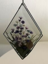 Vintage Dried Flowers Glass Suncatcher Hand Made In Poland