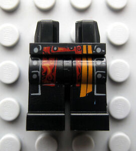 Lego Black PRINTED Legs with Orange/Red Sash Pattern from 4181 Barbossa