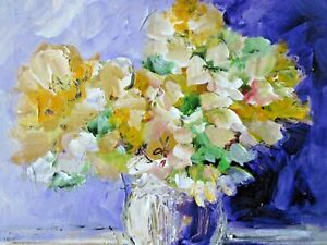 Original Acrylic Painting Yellow Flowers in a Vase on Paper Still Life Art