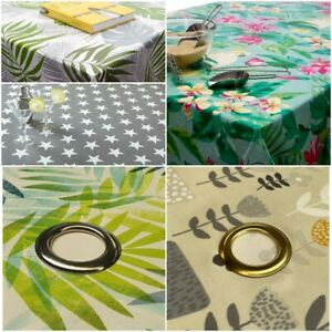 Wipe Clean Outdoors Tablecloth with Parasol Hole Oilcloth Vinyl PVC 140cm ROUND