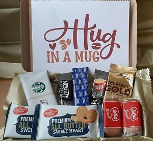 COFFEE LATTE LOVER HAMPER POSTAL LETTERBOX SIZE BISCUITS GIFT HUG IN A MUG BOX