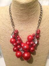 Declaración para mujer Big Grande Oro Rojo Con Cuentas Collar babero con cadena de perlas de imitación