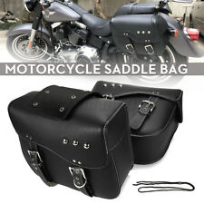 2X Universal Motorcycle Side Saddle Bags Panniers Luggage Storage PU Leather US