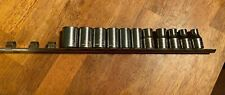 "Vtg 90s 12pc CRAFTSMAN Socket Set 1/2"" shallow METRIC -G2- USA 12pt 9-19, 22, 27"