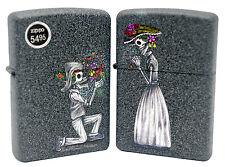 Zippo 28987 Skeleton Love Skull Flowers Set of Two Iron Stone Finish Lighter New