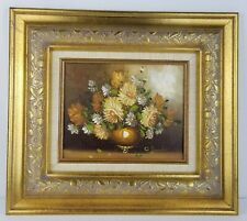 O'Donahue Original Oil on Canvas Flowers Painting W Gold Wood Frame