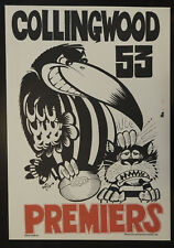 1953 Collingwood Limited Edition Weg Premiers poster Magpies