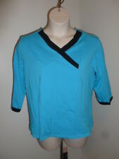N Touch L bright ocean blue black trim stretch shirt top