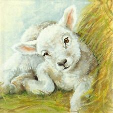 4x Paper Napkins -Young Lamb- for Party, Decoupage