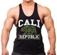 Men's Camo Cali Republic Stringer Muscle Workout California Gym Tank Top T Shirt