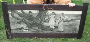 ETCHING ? ENGRAVING ? LRG ANTIQUE GERMAN PRINT IN FRAME W/ HIDDEN COMPARTMENTS