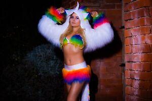 Funki-B faux fur unicorn rainbow sexy fancy dress costume hoody shrug neon plur