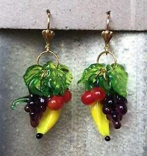 RETRO Lampwork Glass FRUIT EARRINGS Grape Banana Cherry ROCKABILLY 50's PINUP