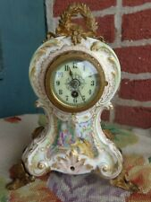 ANTIQUE FRENCH HP PORTRAIT PINK ROSES PORCELAIN GOLD GILT ORMOLU BOUDOIR CLOCK