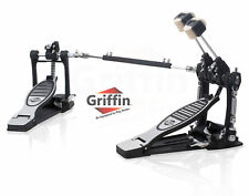 Double Kick Drum Pedal by Griffin - Twin Bass Dual Chain Percussion Hardware