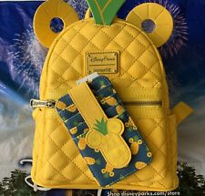 2020 Disney Parks Loungefly Mickey Mouse Ears Pineapple Mini Backpack & Id Set