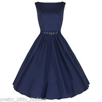PRETTY KITTY ROCKABILLY NAVY COTTON VINTAGE SWING PROM EVENING 1950s DRESS 8-22