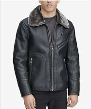 MARC New York Mens XXL Large Black Leather Sherling Jacket .Four Available.