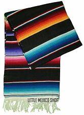 SERAPE Mexican Blanket - MULTI BLACK - SOUTHWESTERN 5' x 7' Falsa Serape Throw
