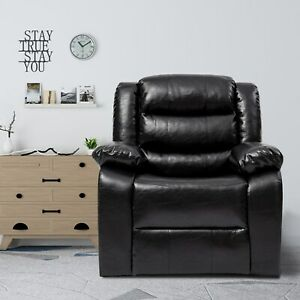 Faux Leather Recliner Chair with Massage Heat Ergonomic Lounge for Living Room