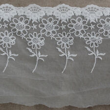 1 Meter Floral Flower Embroidery Tulle Lace Trim Sunflower - Ivory White - 18cm