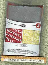 SIZZIX CHRISTMAS STOCKINGS/25 DAYS OF CHRISTMAS SET OF 2 EMBOSSING FOLDERS - A2