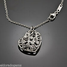 HEARTS ON FIRE NECKLACE 0.40 CT DIAMOND BROCADE HEART PENDANT 18K WHITE GOLD 18""