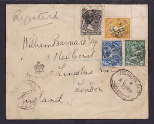 Falkland Islands. 1/2d,2.5d,4d & 6d on Registered cover to London. 1894. Scarce.
