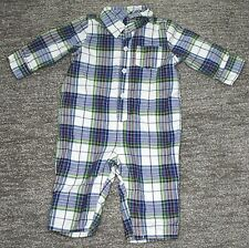 Baby Gap Boys Toddler Coverall Red Green Yellow Blue Plaid 6-12 Months