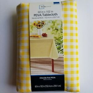 Summer Gingham Vinyl Tablecloth 60 x 102 Yellow White Checked Picnic Camping NEW