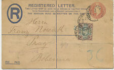 "2477 1905 EVII superb Registered Letter 2D+1D PS uprated 4 D cpl. ""HUTH"" PERFIN"