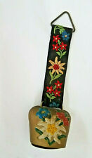 Brass Cowbell With Fabric Strap Floral Design Vintage