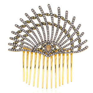 Latest Fashion 5.61ct Pave Diamond Gold 925 Sterling Silver Hair Pin Jewelry