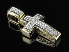 Mens Ladies 14k Yellow Gold Genuine Princess Diamond Cross Pendant .60 CT