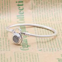 Moments Padlock Bracelet 925 Sterling Silver Pavé Clasp Snake Chain Fit Original