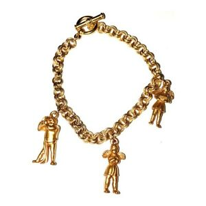 """18K Yellow Gold Finish 3D Theological Angel Charm Bracelet 7.5"""" -  Made in USA"""