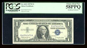 DBR $1 1957-B Silver Fr. 1621 RA Block PCGS 58 PPQ Serial R43741471A