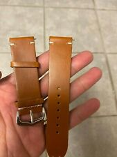24mm Genuine Leather Watch Band Oil Light Brown 24mm Wrist Strap
