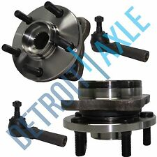 "4 pc Kit: 2 Front Wheel Hub and Bearing Assembly w/ 14"" Wheel + 2 Outer Tie Rod"