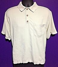 TOMMY BAHAMA men's Medium silk blend polo shirt creme colored excellent