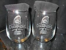 2016 WORLD SERIES CHAMPION CHICAGO CUBS 2 ETCHED WINE GLASSES LIMITED EDITION NS