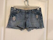 "Womens Decree Denim Blue Jean Shorts Sz 5 Distressed Frayed Lowrise 3.5""ins Zips"