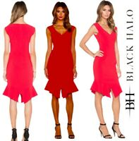 Black Halo Dress Size 0, Red, Fitted, V Neck, New With Tags, ZIP Back, Sold Out